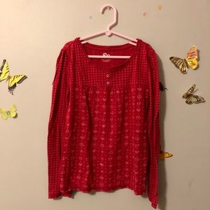 So Red Long Sleeve Top with hearts and peace signs